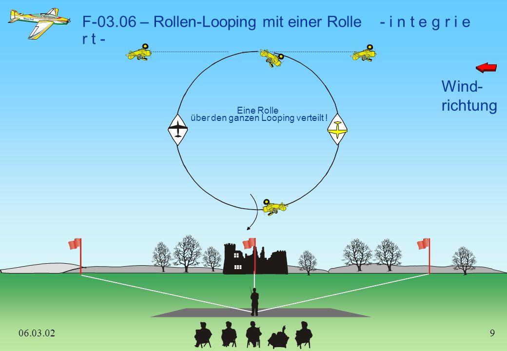 Wind- richtung F-03.15 – Ziehen auf 45°, 1/4 Rolle, 1/2 Looping im Messerflug aufwärts oder abwärts auf 45°, 1/4 Rolle abwärts 45 0 aufwärts 06.03.0219