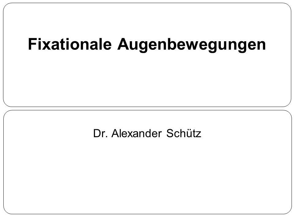 Fixationale Augenbewegungen Dr. Alexander Schütz