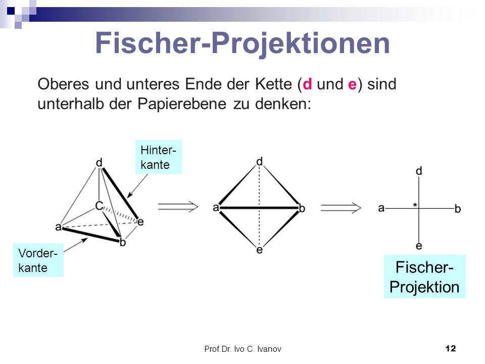 Prof.Dr. Ivo C. Ivanov12 Fischer-Projektionen Oberes und unteres Ende der Kette (d und e) sind unterhalb der Papierebene zu denken: Hinter- kante Vord