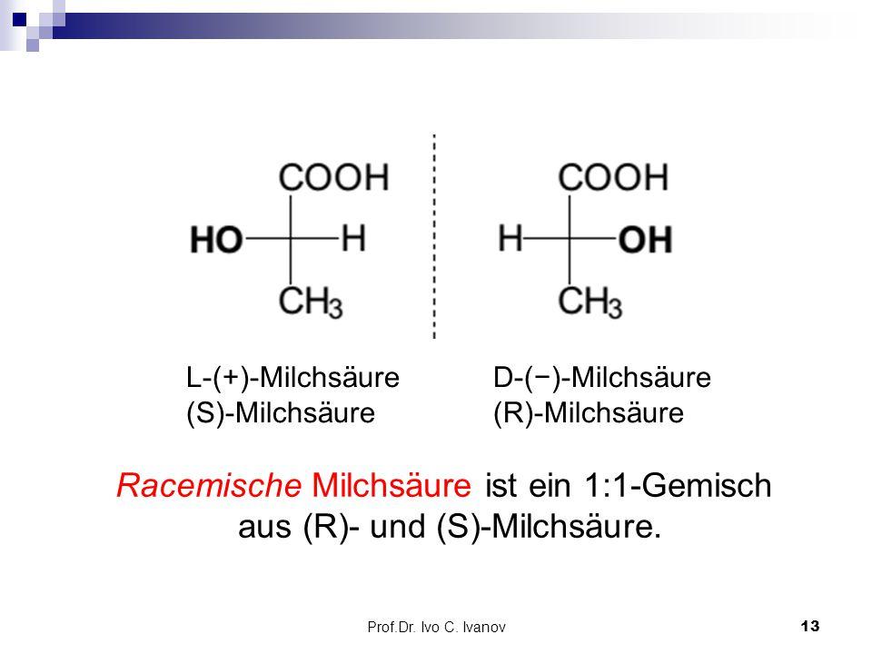 Prof.Dr. Ivo C. Ivanov13 D-(−)-Milchsäure (R)-Milchsäure L-(+)-Milchsäure (S)-Milchsäure Racemische Milchsäure ist ein 1:1-Gemisch aus (R)- und (S)-Mi