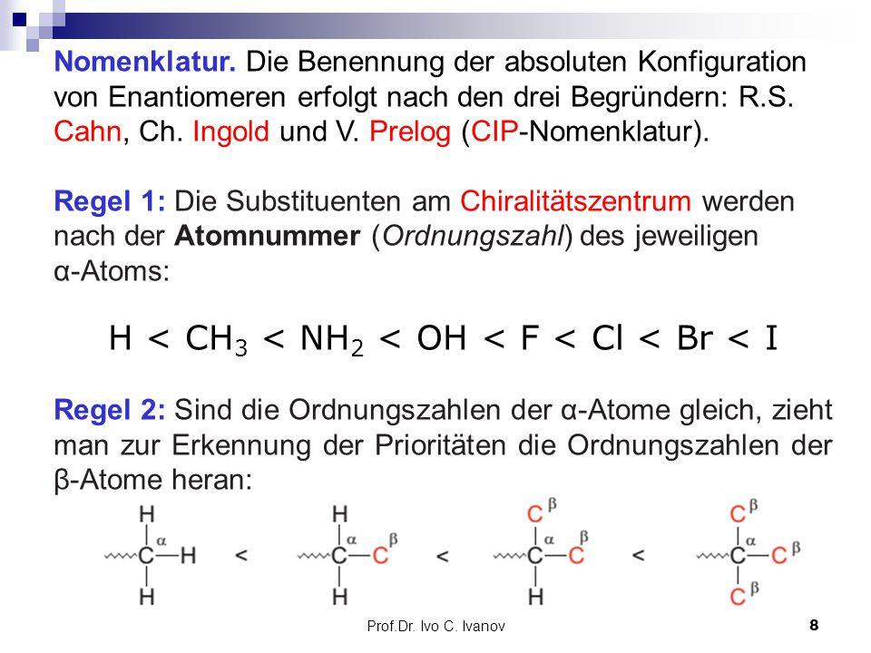 Prof.Dr. Ivo C. Ivanov8 Nomenklatur. Die Benennung der absoluten Konfiguration von Enantiomeren erfolgt nach den drei Begründern: R.S. Cahn, Ch. Ingol