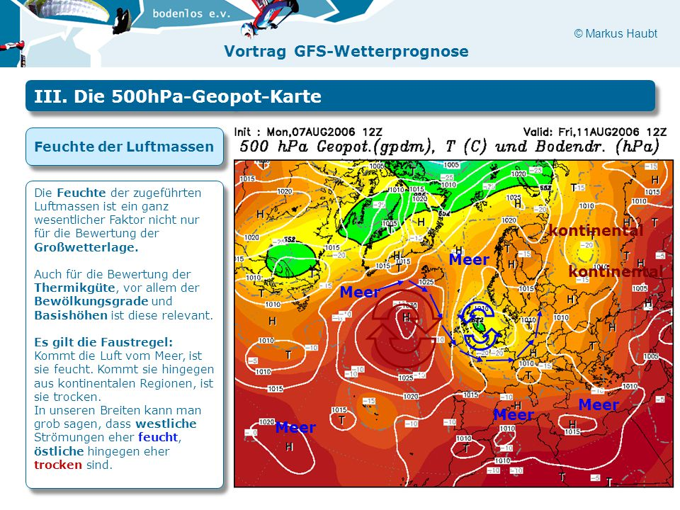 © Markus Haubt Vortrag GFS-Wetterprognose Meer kontinental Meer III. Die 500hPa-Geopot-Karte Feuchte der Luftmassen Die Feuchte der zugeführten Luftma