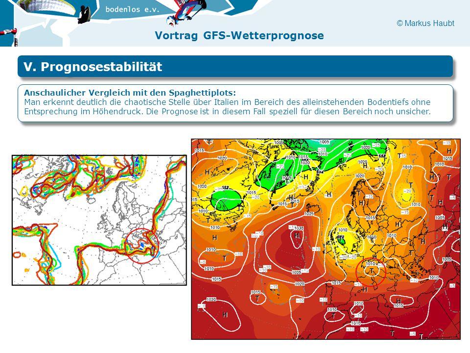 © Markus Haubt Vortrag GFS-Wetterprognose V. Prognosestabilität Anschaulicher Vergleich mit den Spaghettiplots: Man erkennt deutlich die chaotische St