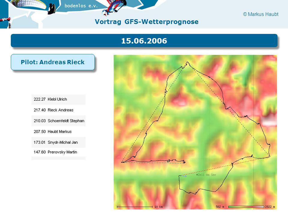 © Markus Haubt Vortrag GFS-Wetterprognose 15.06.2006 Pilot: Andreas Rieck