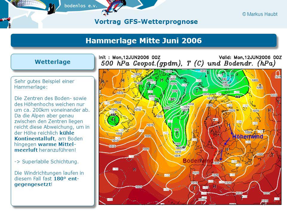 © Markus Haubt Vortrag GFS-Wetterprognose Höhenwind Bodenwind Hammerlage Mitte Juni 2006 Sehr gutes Beispiel einer Hammerlage: Die Zentren des Boden- sowie des Höhenhochs weichen nur um ca.