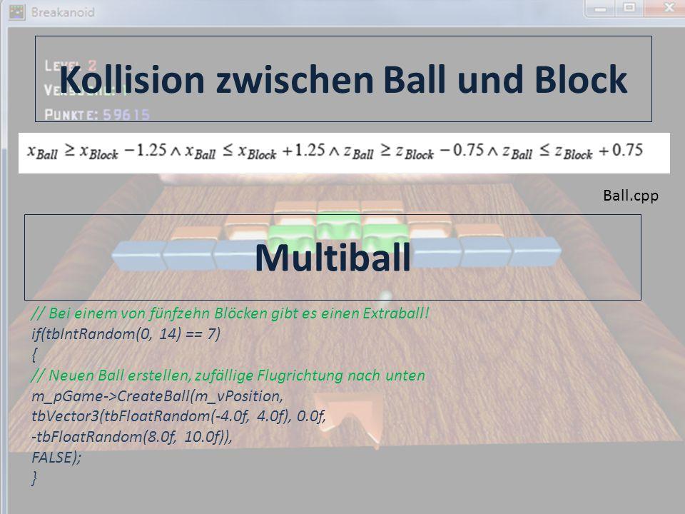 Kollision zwischen Ball und Block Ball.cpp Multiball // Bei einem von fünfzehn Blöcken gibt es einen Extraball.