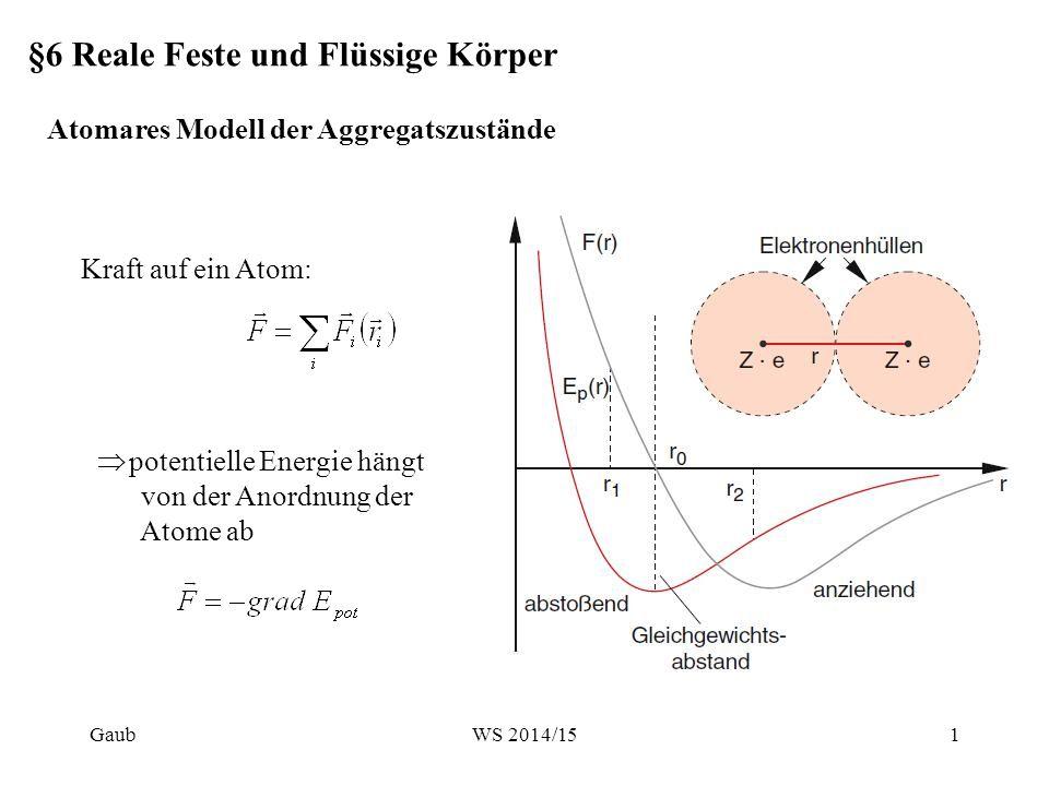 §6 Reale Feste und Flüssige Körper Kraft auf ein Atom: Atomares Modell der Aggregatszustände  potentielle Energie hängt von der Anordnung der Atome a