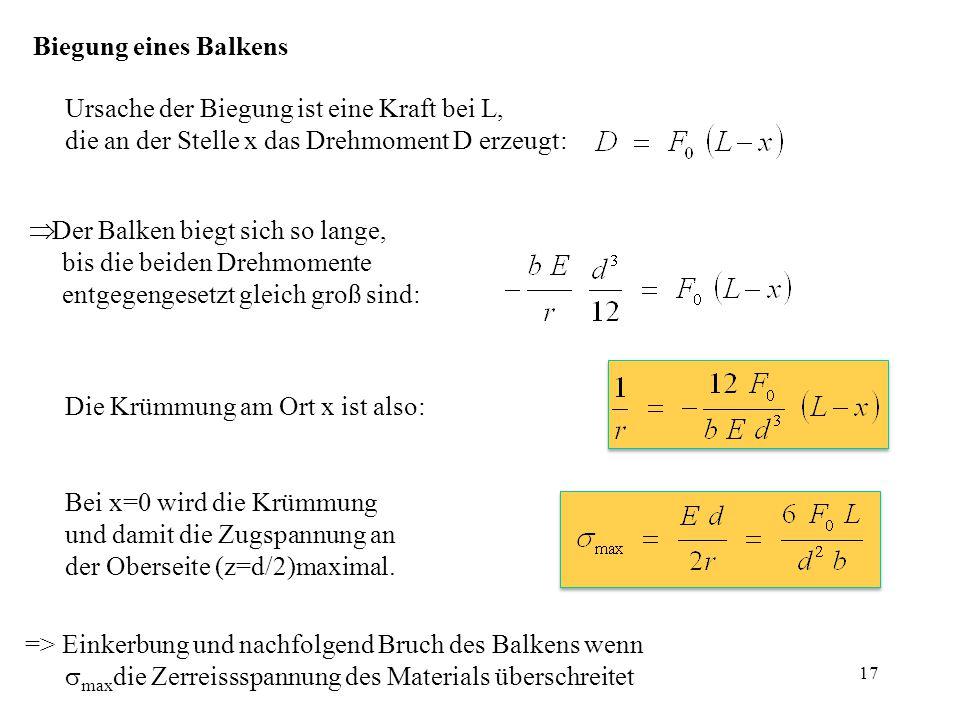Biegung eines Balkens Ursache der Biegung ist eine Kraft bei L, die an der Stelle x das Drehmoment D erzeugt:  Der Balken biegt sich so lange, bis di