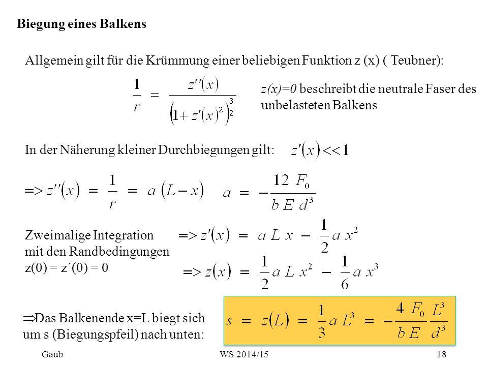 Biegung eines Balkens In der Näherung kleiner Durchbiegungen gilt: Zweimalige Integration mit den Randbedingungen z(0) = z´(0) = 0  Das Balkenende x=