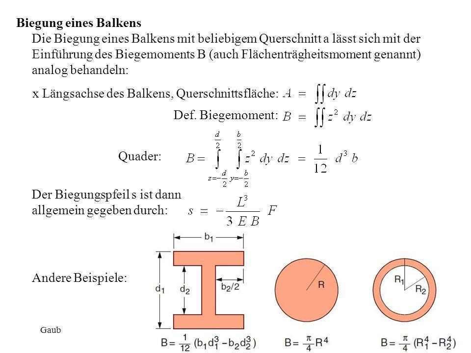 Biegung eines Balkens Die Biegung eines Balkens mit beliebigem Querschnitt a lässt sich mit der Einführung des Biegemoments B (auch Flächenträgheitsmo