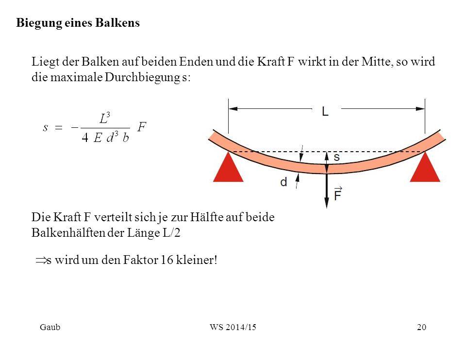 Biegung eines Balkens Liegt der Balken auf beiden Enden und die Kraft F wirkt in der Mitte, so wird die maximale Durchbiegung s: Die Kraft F verteilt