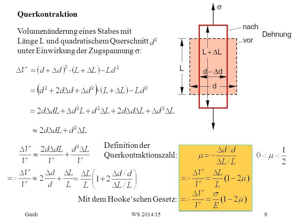 Querkontraktion Volumenänderung eines Stabes mit Länge L und quadratischem Querschnitt unter Einwirkung der Zugspannung σ: Definition der Querkontrakt