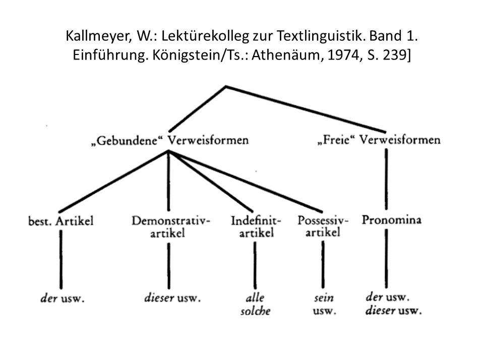 Kallmeyer, W.: Lektürekolleg zur Textlinguistik. Band 1. Einführung. Königstein/Ts.: Athenäum, 1974, S. 239]