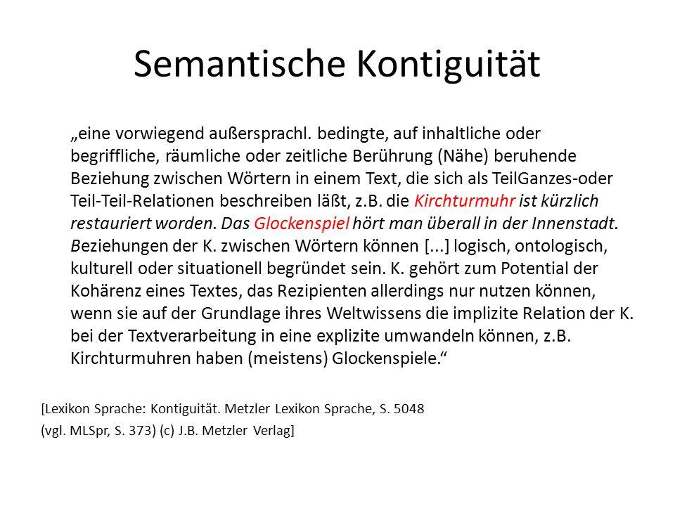 """Semantische Kontiguität """"eine vorwiegend außersprachl. bedingte, auf inhaltliche oder begriffliche, räumliche oder zeitliche Berührung (Nähe) beruhend"""