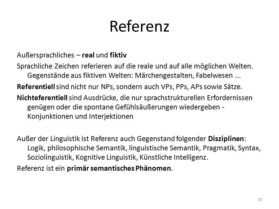 Referenz Außersprachliches – real und fiktiv Sprachliche Zeichen referieren auf die reale und auf alle möglichen Welten. Gegenstände aus fiktiven Welt