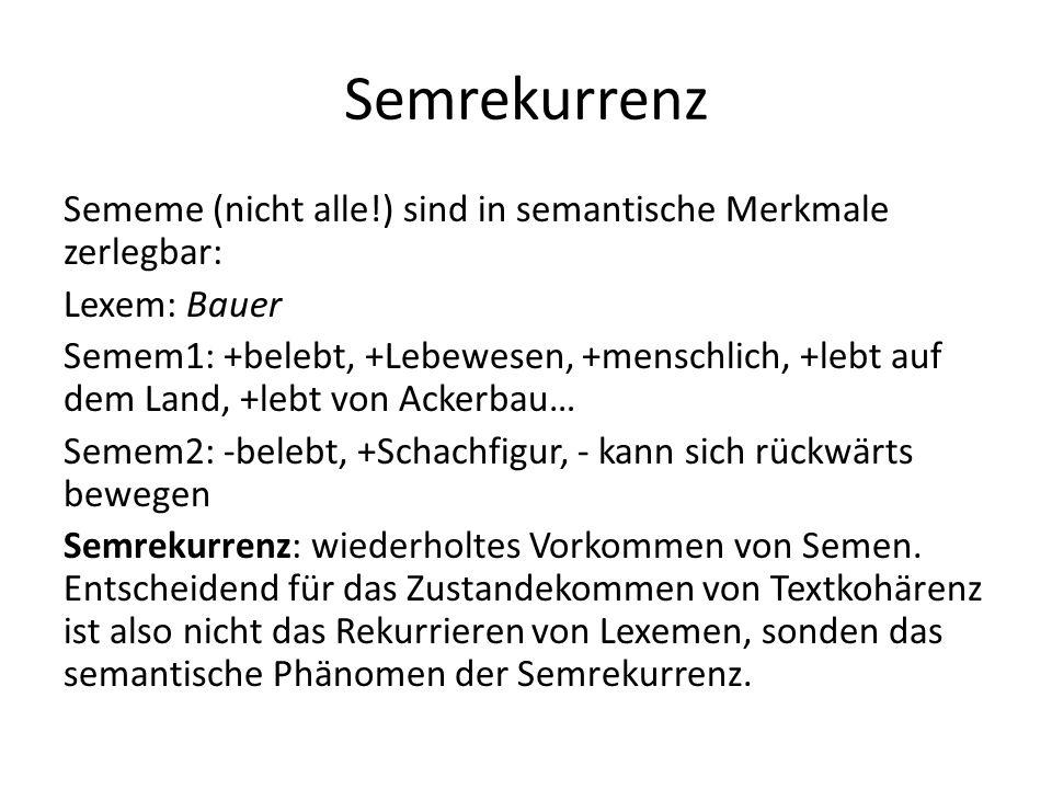 Semrekurrenz Sememe (nicht alle!) sind in semantische Merkmale zerlegbar: Lexem: Bauer Semem1: +belebt, +Lebewesen, +menschlich, +lebt auf dem Land, +