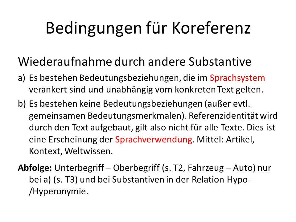Bedingungen für Koreferenz Wiederaufnahme durch andere Substantive a)Es bestehen Bedeutungsbeziehungen, die im Sprachsystem verankert sind und unabhän