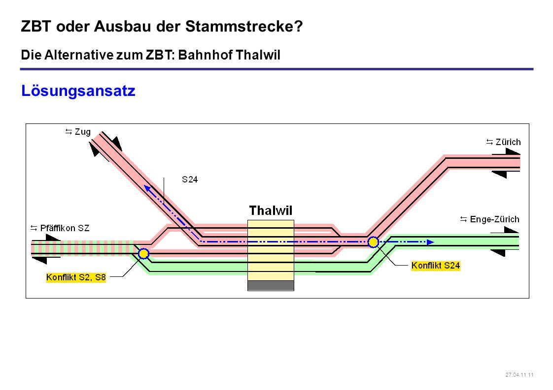 27.04.11 11 ZBT oder Ausbau der Stammstrecke? Lösungsansatz Die Alternative zum ZBT: Bahnhof Thalwil