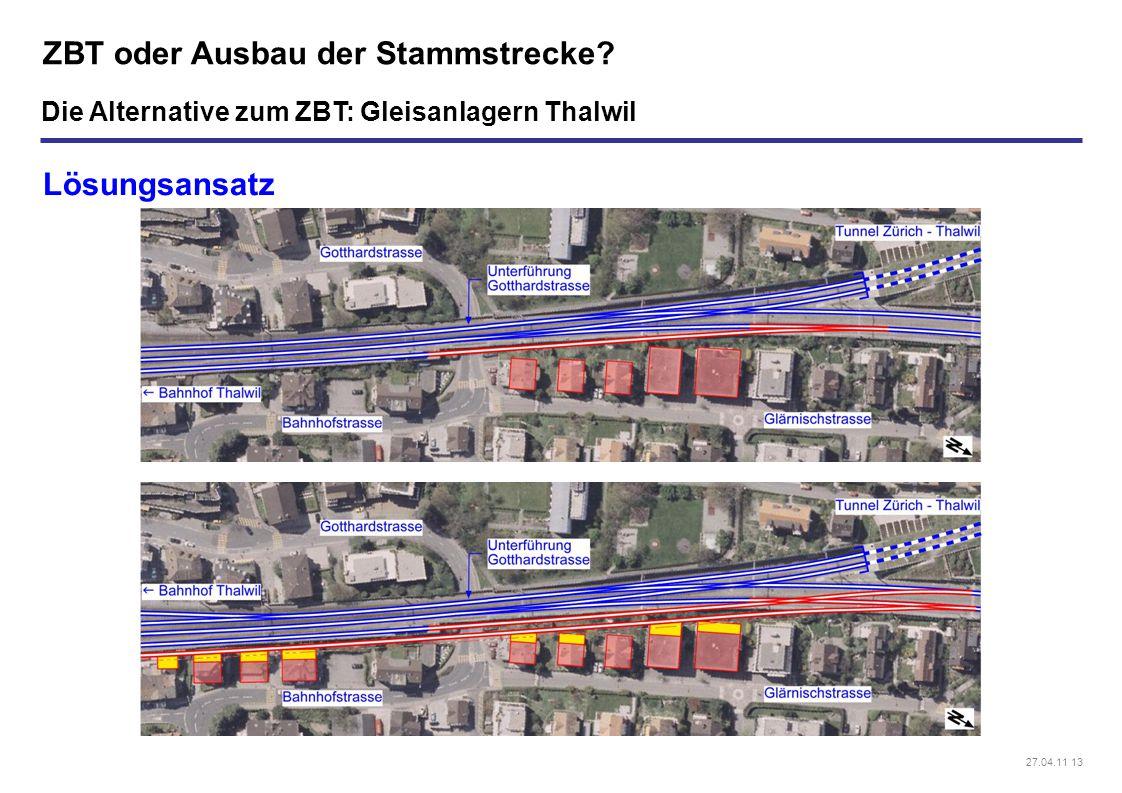 27.04.11 13 ZBT oder Ausbau der Stammstrecke? Lösungsansatz Die Alternative zum ZBT: Gleisanlagern Thalwil