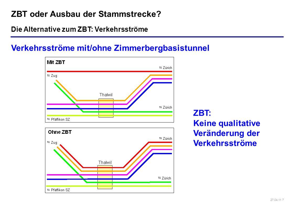 27.04.11 7 ZBT oder Ausbau der Stammstrecke? Verkehrsströme mit/ohne Zimmerbergbasistunnel ZBT: Keine qualitative Veränderung der Verkehrsströme Die A
