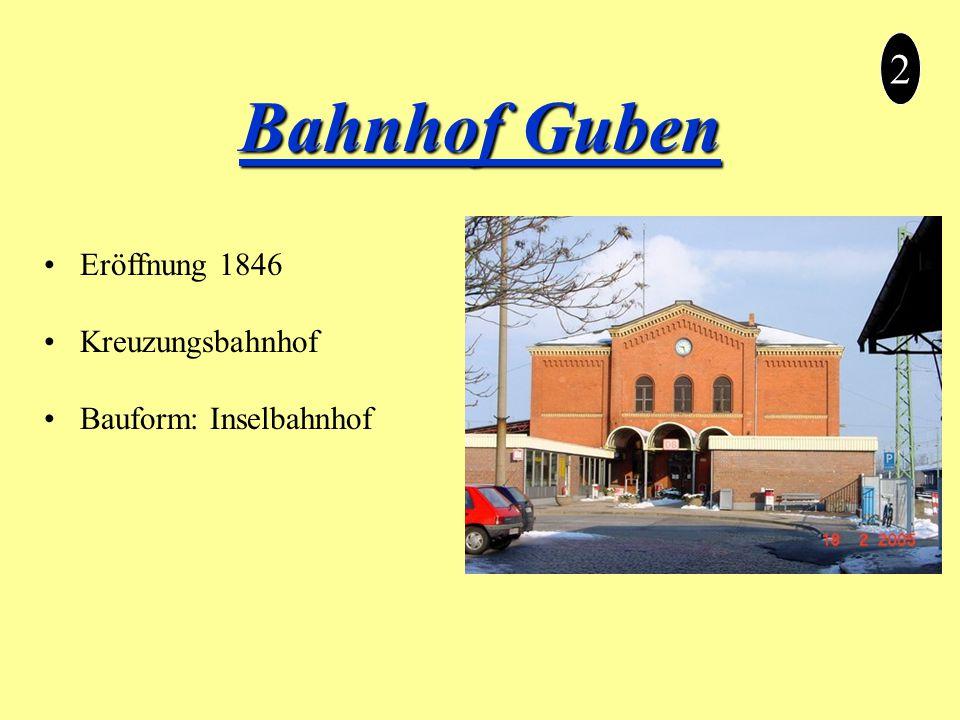 Bahnhof Guben 2 Eröffnung 1846 Kreuzungsbahnhof Bauform: Inselbahnhof