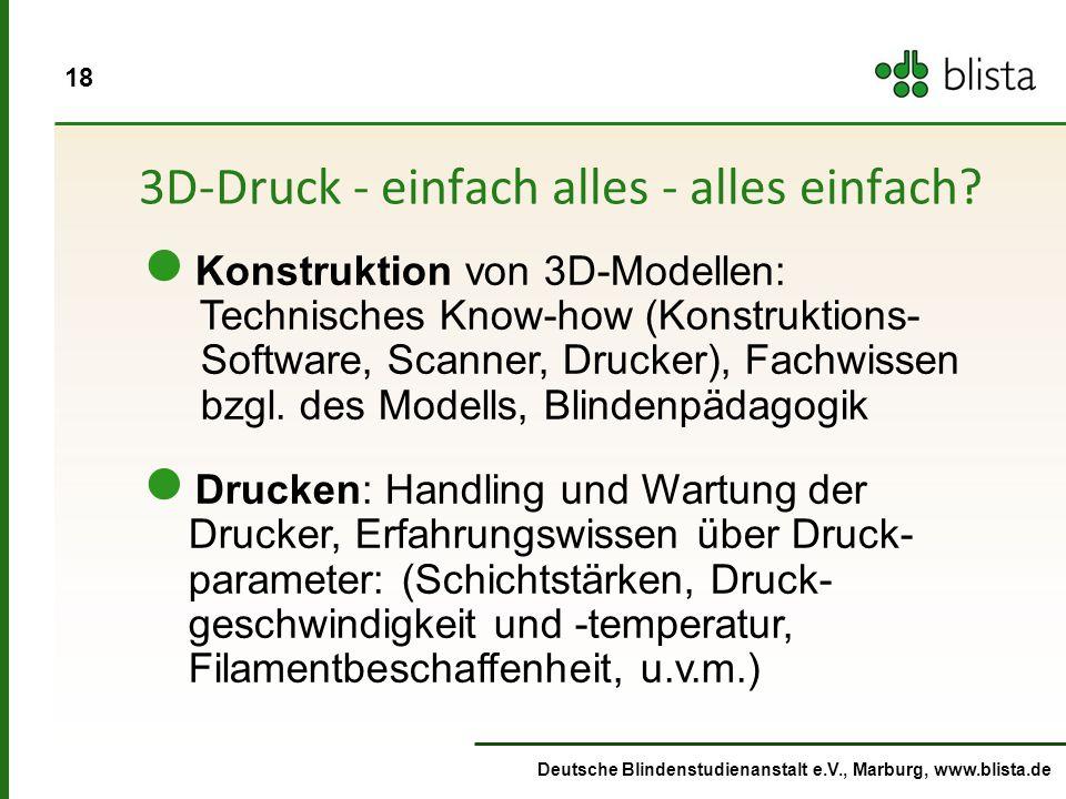 18 Deutsche Blindenstudienanstalt e.V., Marburg, www.blista.de 3D-Druck - einfach alles - alles einfach.