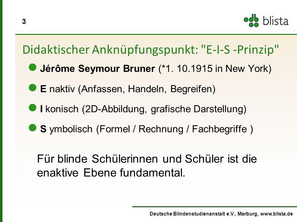 3 Deutsche Blindenstudienanstalt e.V., Marburg, www.blista.de Didaktischer Anknüpfungspunkt: E-I-S -Prinzip Jérôme Seymour Bruner (*1.
