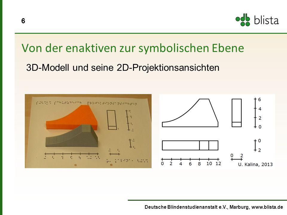 7 Deutsche Blindenstudienanstalt e.V., Marburg, www.blista.de Von der ikonischen Ebene (Funktionsgraph) zur symbolischen Ebene (Funktionsgleichung) f(x) = 5/64 x^2 +1 Ikonische EbeneSymbolische Ebene