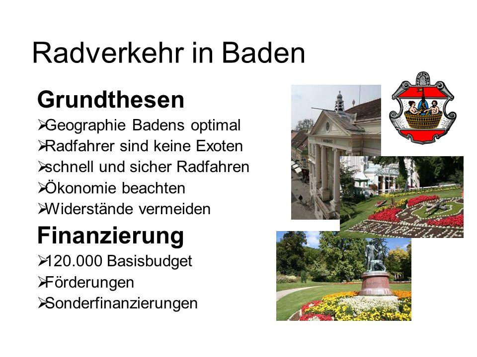 Radverkehr in Baden Grundthesen  Geographie Badens optimal  Radfahrer sind keine Exoten  schnell und sicher Radfahren  Ökonomie beachten  Widerstände vermeiden Finanzierung  120.000 Basisbudget  Förderungen  Sonderfinanzierungen