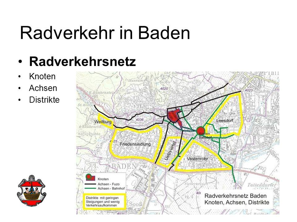Radverkehrsnetz Knoten Achsen Distrikte Radverkehr in Baden