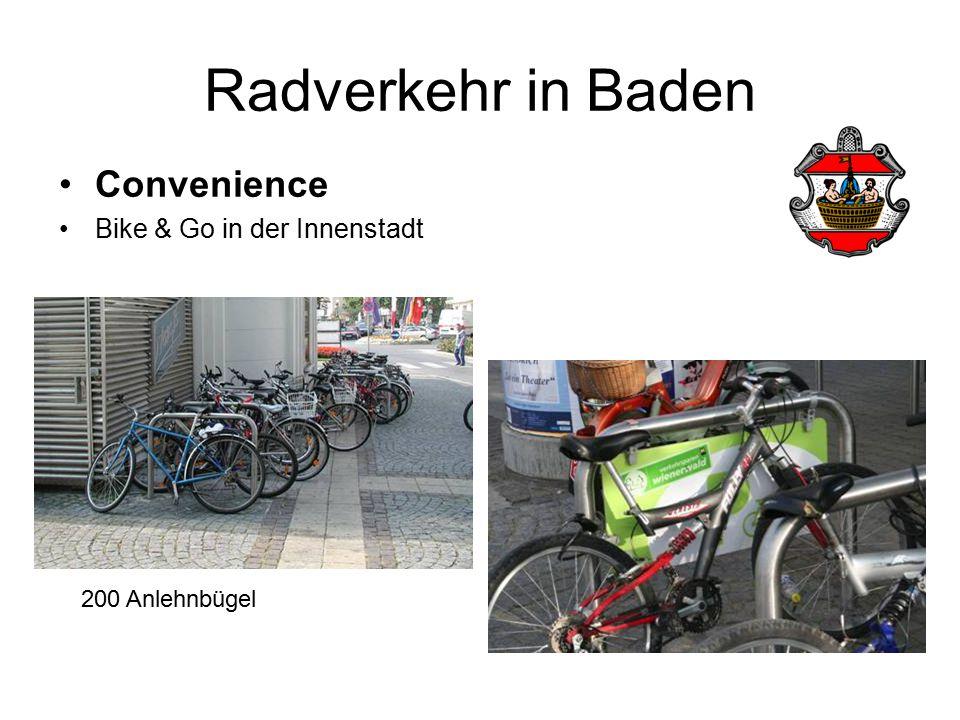 Radverkehr in Baden Convenience Bike & Go in der Innenstadt 200 Anlehnbügel