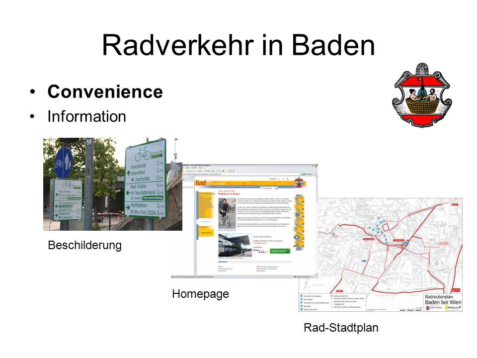 Radverkehr in Baden Convenience Information Beschilderung Rad-Stadtplan Homepage