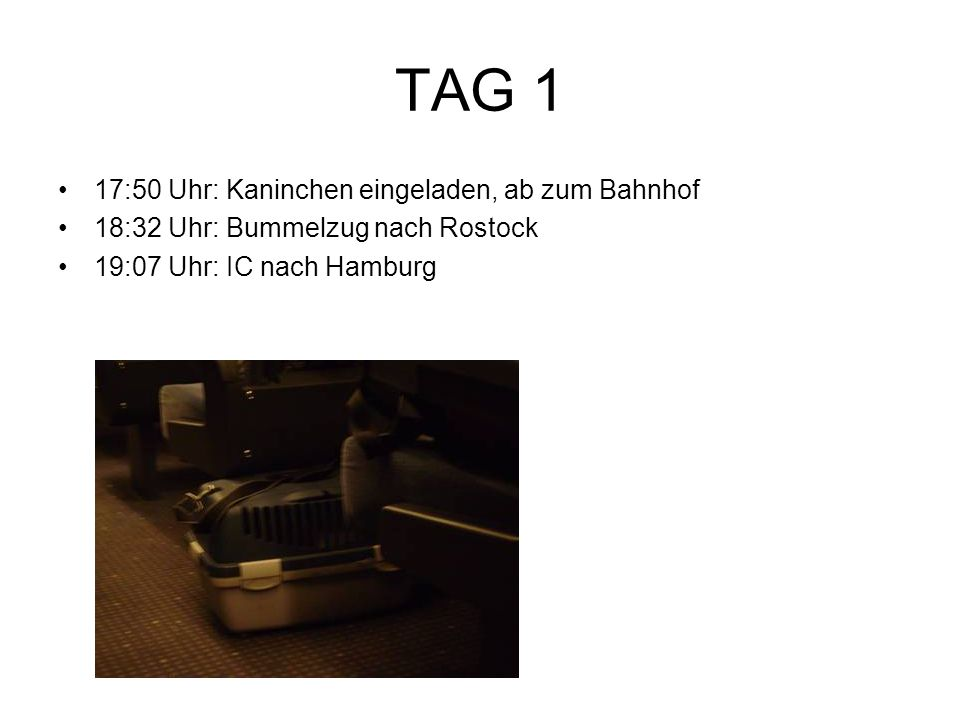 TAG 1 17:50 Uhr: Kaninchen eingeladen, ab zum Bahnhof 18:32 Uhr: Bummelzug nach Rostock 19:07 Uhr: IC nach Hamburg