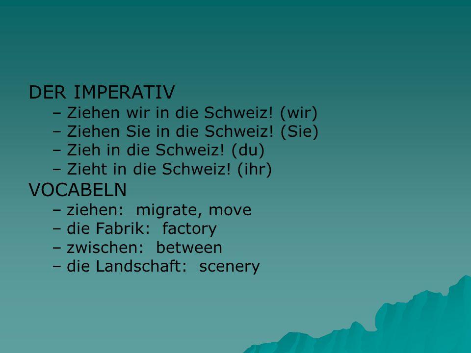 DER IMPERATIV – –Ziehen wir in die Schweiz.(wir) – –Ziehen Sie in die Schweiz.