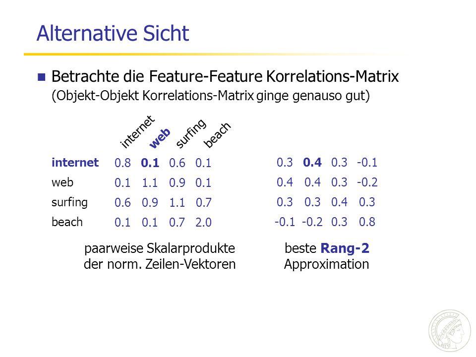 Alternative Sicht Betrachte die Feature-Feature Korrelations-Matrix (Objekt-Objekt Korrelations-Matrix ginge genauso gut) 0.80.10.60.1 1.10.90.1 0.60.