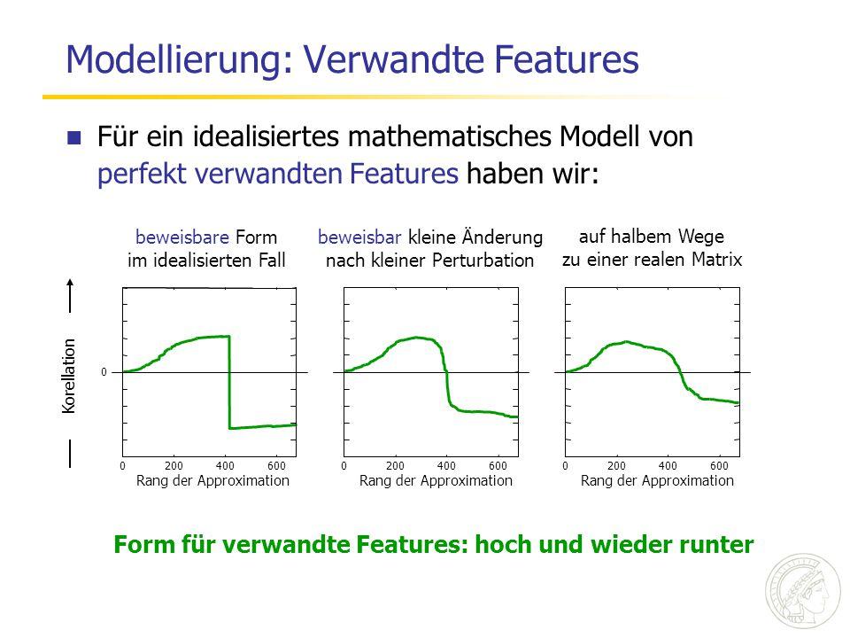 Modellierung: Verwandte Features 2004006000 Rang der Approximation 2004006000 Rang der Approximation 2004006000 Rang der Approximation Korellation beweisbare Form im idealisierten Fall beweisbar kleine Änderung nach kleiner Perturbation auf halbem Wege zu einer realen Matrix 0 Für ein idealisiertes mathematisches Modell von perfekt verwandten Features haben wir: Form für verwandte Features: hoch und wieder runter
