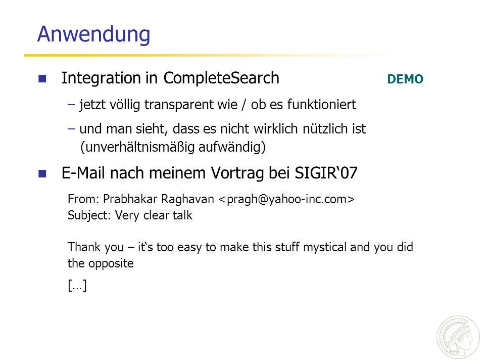 Anwendung Integration in CompleteSearch DEMO – jetzt völlig transparent wie / ob es funktioniert – und man sieht, dass es nicht wirklich nützlich ist