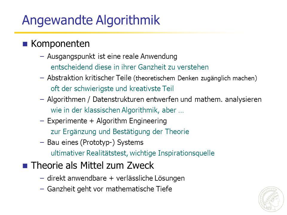 Angewandte Algorithmik Komponenten –Ausgangspunkt ist eine reale Anwendung entscheidend diese in ihrer Ganzheit zu verstehen –Abstraktion kritischer T
