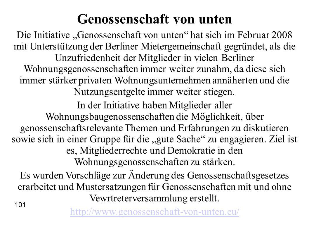 """Genossenschaft von unten Die Initiative """"Genossenschaft von unten"""" hat sich im Februar 2008 mit Unterstützung der Berliner Mietergemeinschaft gegründe"""