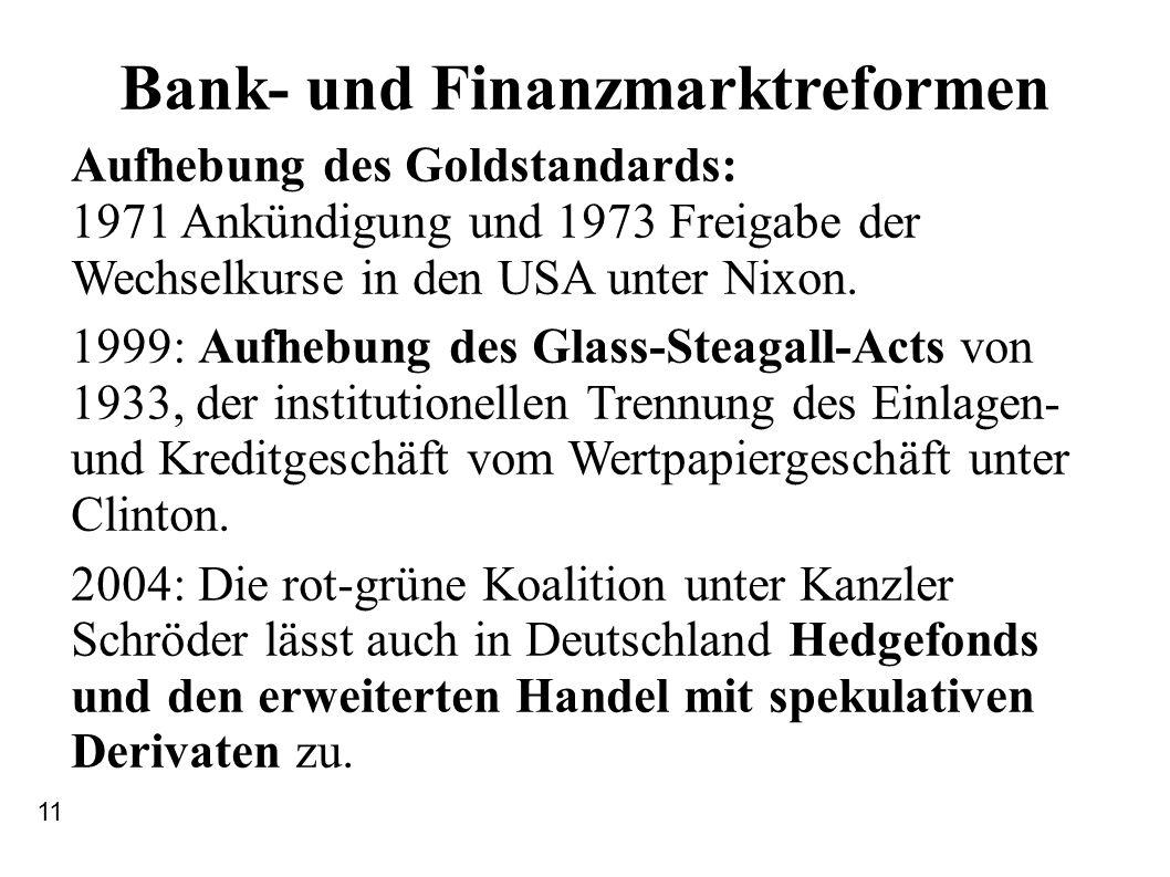 Bank- und Finanzmarktreformen Aufhebung des Goldstandards: 1971 Ankündigung und 1973 Freigabe der Wechselkurse in den USA unter Nixon. 1999: Aufhebung