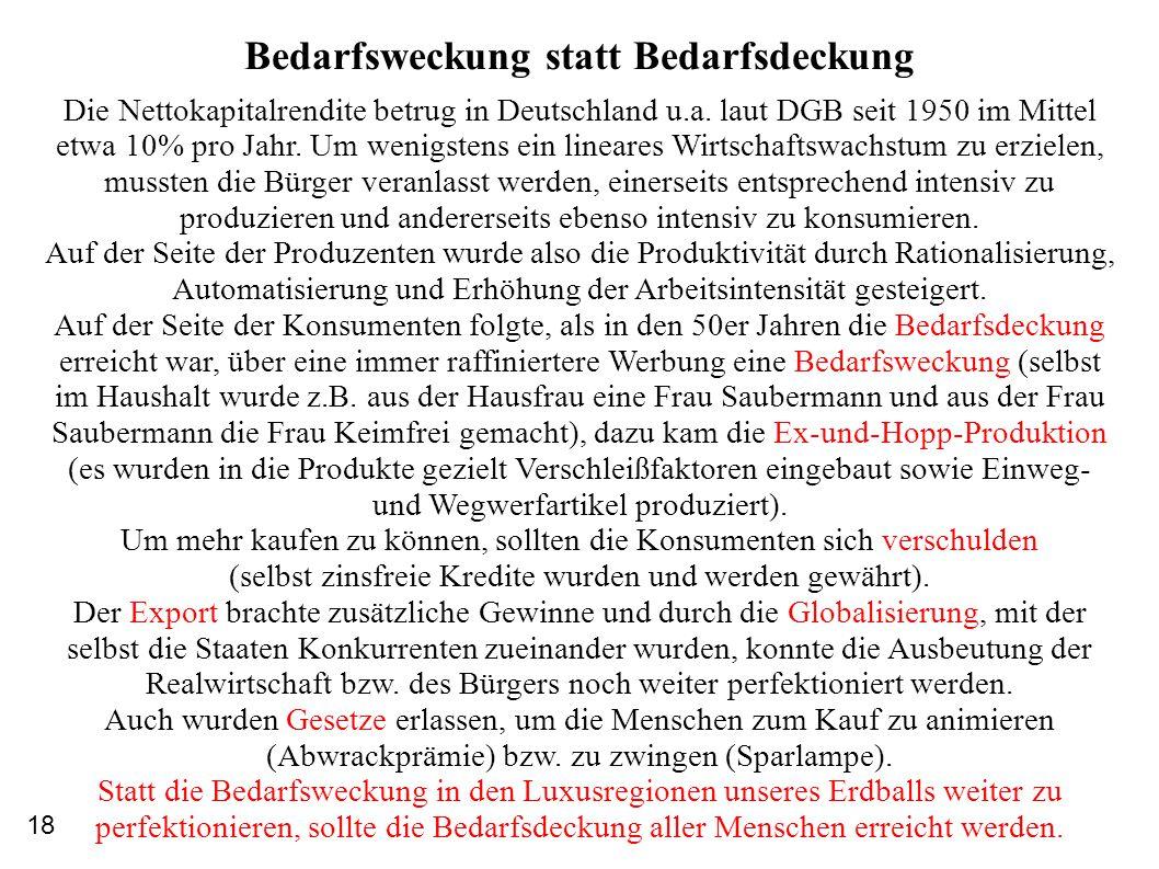 Bedarfsweckung statt Bedarfsdeckung Die Nettokapitalrendite betrug in Deutschland u.a. laut DGB seit 1950 im Mittel etwa 10% pro Jahr. Um wenigstens e