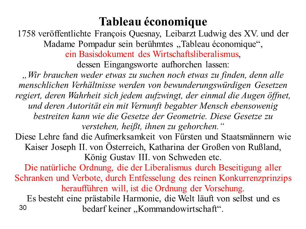 "Tableau économique 1758 veröffentlichte François Quesnay, Leibarzt Ludwig des XV. und der Madame Pompadur sein berühmtes ""Tableau économique"", ein Bas"