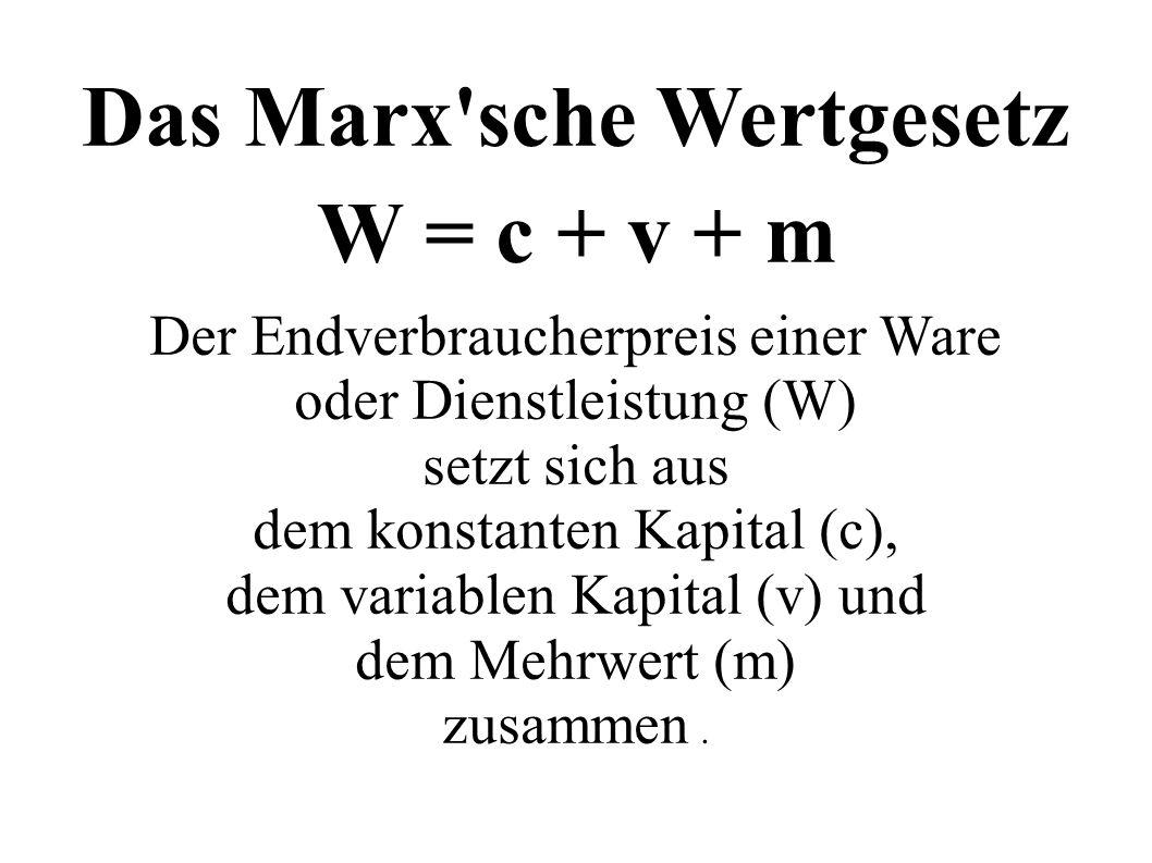Das Marx'sche Wertgesetz W = c + v + m Der Endverbraucherpreis einer Ware oder Dienstleistung (W) setzt sich aus dem konstanten Kapital (c), dem varia