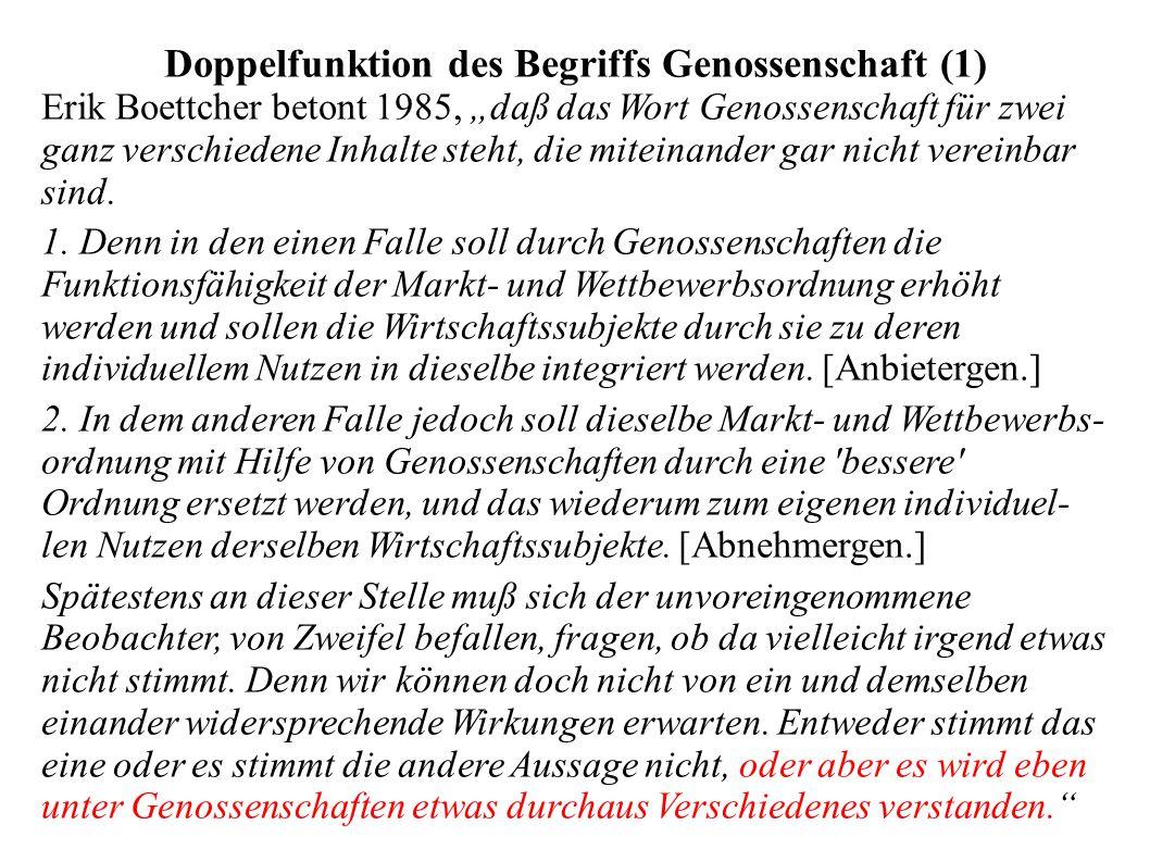 """Doppelfunktion des Begriffs Genossenschaft (1) Erik Boettcher betont 1985, """"daß das Wort Genossenschaft für zwei ganz verschiedene Inhalte steht, die"""