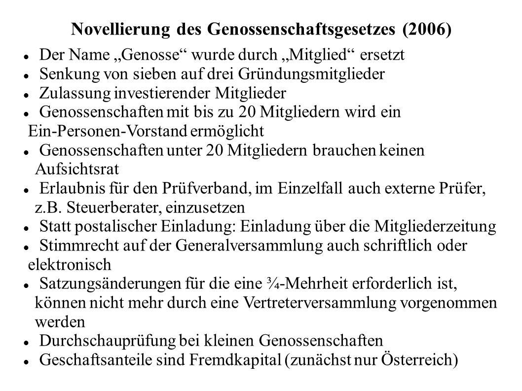 """Novellierung des Genossenschaftsgesetzes (2006) Der Name """"Genosse"""" wurde durch """"Mitglied"""" ersetzt Senkung von sieben auf drei Gründungsmitglieder Zula"""
