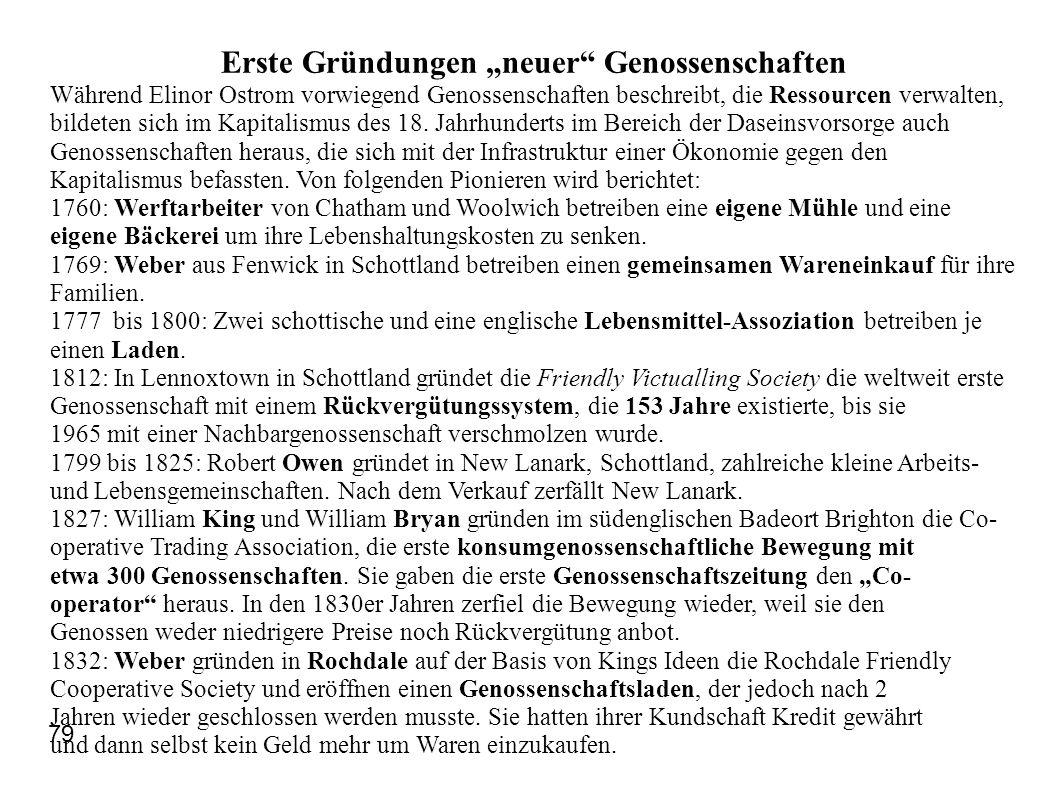 """Erste Gründungen """"neuer"""" Genossenschaften Während Elinor Ostrom vorwiegend Genossenschaften beschreibt, die Ressourcen verwalten, bildeten sich im Kap"""