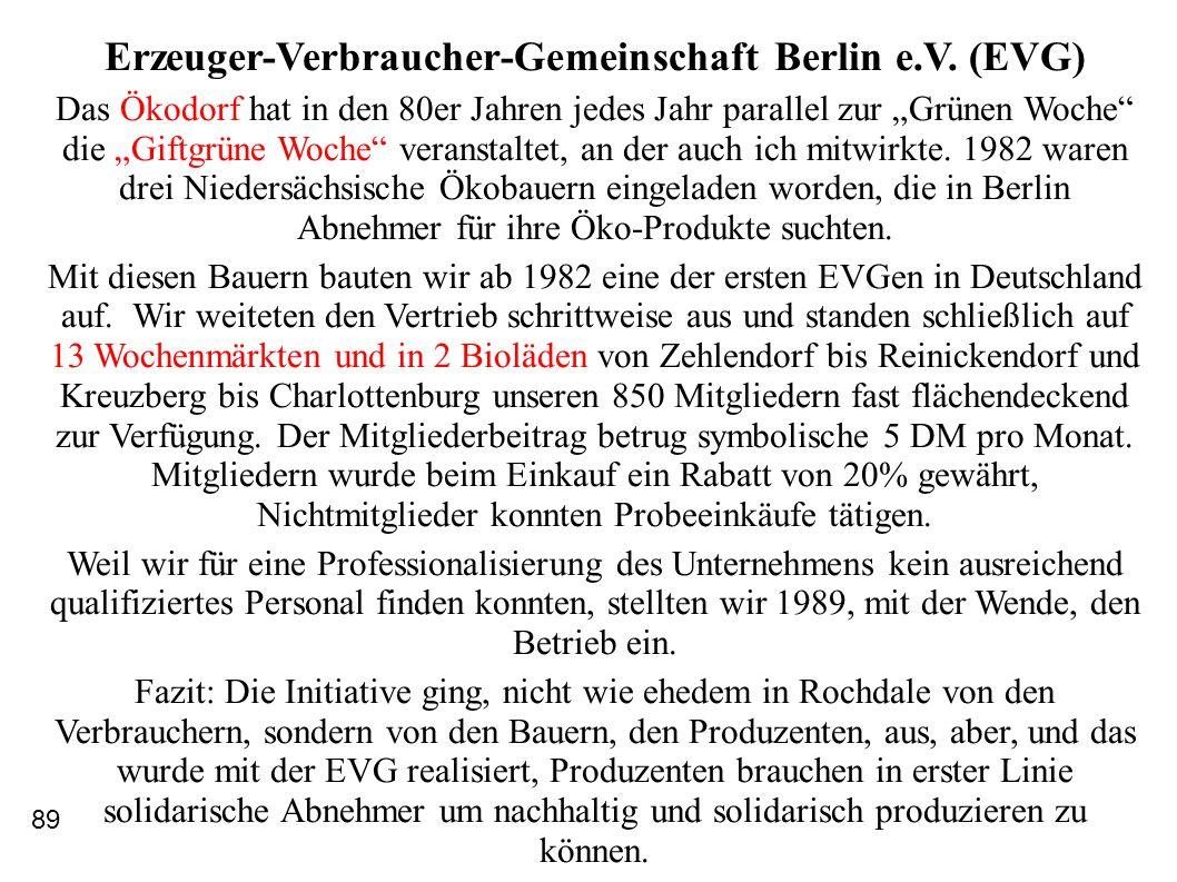 """Erzeuger-Verbraucher-Gemeinschaft Berlin e.V. (EVG) Das Ökodorf hat in den 80er Jahren jedes Jahr parallel zur """"Grünen Woche"""" die """"Giftgrüne Woche"""" ve"""