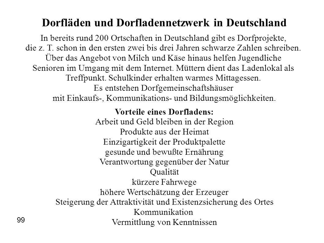 Dorfläden und Dorfladennetzwerk in Deutschland In bereits rund 200 Ortschaften in Deutschland gibt es Dorfprojekte, die z. T. schon in den ersten zwei