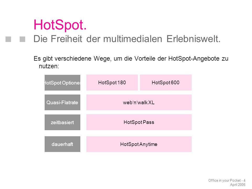 Office in your Pocket - 4 April 2006 Es gibt verschiedene Wege, um die Vorteile der HotSpot-Angebote zu nutzen: HotSpot. Die Freiheit der multimediale