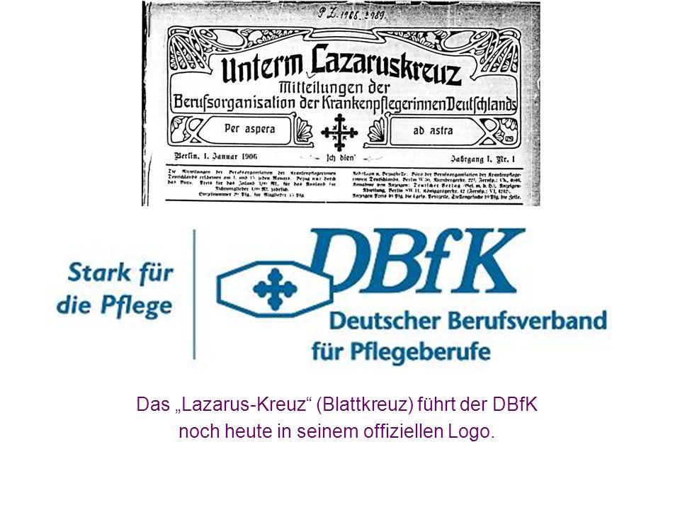 """Das """"Lazarus-Kreuz"""" (Blattkreuz) führt der DBfK noch heute in seinem offiziellen Logo."""